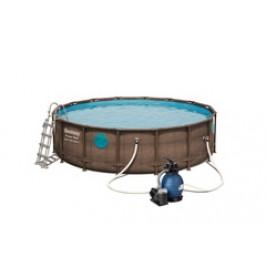 Bestway 56725 Bazén Rattan Swim Vista s konstrukcí 4,88 x 1,22m písková filtrace 4,5m3/hod