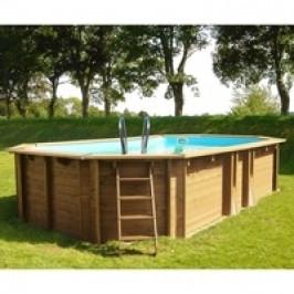 Bazén GRE Nature Wood Safran 6,37 x 4,12 x 1,33m set s pískovou filtrací 8m3/h