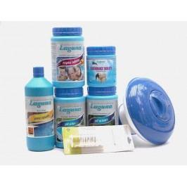 III. Set na chlorové ošetření vody (Triplex tablety, pH-, pH+, Algicid, Vločkovací tablety, tester, plovák)