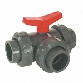 Kulový třícestný ventil PVC  - 50mm L