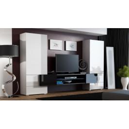 Cama Obývací stěna TORI - bílá/bílá/černá
