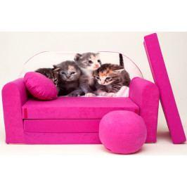 Forclaire Dětská pohovka Koťátka - růžová