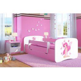 Forclaire Dětská postel se zábranou Ourbaby - Víla Leonka postel 160 x 70 cm s úložným prostorem