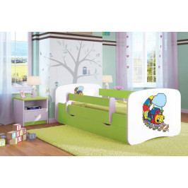 Forclaire Dětská postel se zábranou Ourbaby - Veselý vláček postel 140 x 70 cm