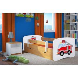 Forclaire Dětská postel se zábranou Ourbaby - Hasičské auto - buk postel 140 x 70 cm