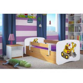 Forclaire Dětská postel se zábranou Ourbaby - bagr- buk postel 140 x 70 cm