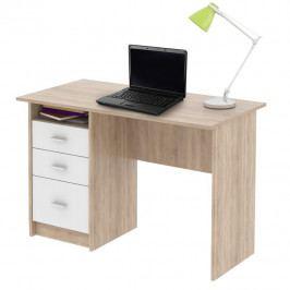 Tempo Kondela PC stůl SAMSON - dub sonoma/bílá