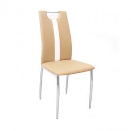 Tempo Kondela Židle SIGNA - béžová / bílá ekokůže