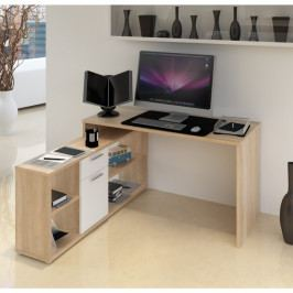 Tempo Kondela PC stůl NOE NEW - dub sonoma / bílá