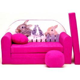 Forclaire Dětská pohovka Králíčci - růžová