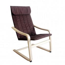 Tempo Kondela Relaxační křeslo TORSTEN - březové dřevo / hnědá látka