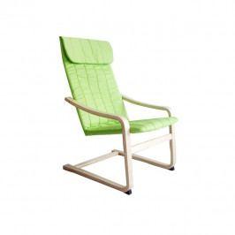 Tempo Kondela Relaxační křeslo TORSTEN - březové dřevo / zelená látka