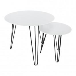 Tempo Kondela Set dvou příručních stolků HOLDEN 2V1 - bílá / černá