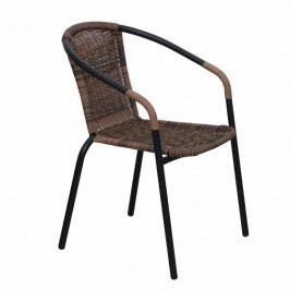 Tempo Kondela Židle DOREN - hnědý ratan / černé nohy