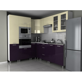 Falco Rohová kuchyňská linka Milenium - vanilka+fialový lesk/MDR