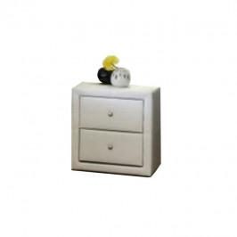 Tempo Kondela Noční stolek, dvouzásuvkový, ekokůže bílá, FANTASY NEW
