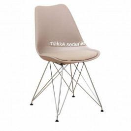 Tempo Kondela Židle METAL NEW - teplá šedá / chrom