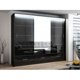 Casarredo Šatní skříň MARSYLIA 250 černá s osvětlením
