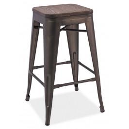Casarredo Barová kovová židle LONG grafit/tm.ořech