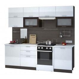 Casarredo Kuchyně VALERIA 240 - wenge/bílá lesk