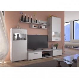 Tempo Kondela Obývací stěna BREAK - bílá / beton světlý