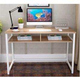 Tempo Kondela PC stůl, světlý ořech / bílá, HARALD