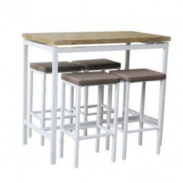 Tempo Kondela Barový jídelní set LUCERO (1 stůl + 4 židle) - bílá / dub sonoma / hnědá