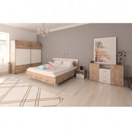 Tempo Kondela Ložnicový komplet (postel 160x200 cm), dub Wotan / bílá, GABRIELA