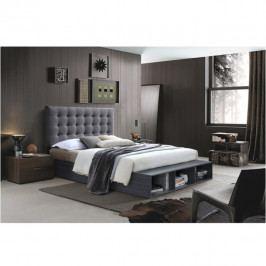 Tempo Kondela Manželská postel TERKA s regálem, 180x200 - šedá