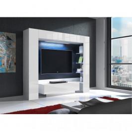 Tempo Kondela TV stěna LED osvetlením MONTEREJ - bílá/bílá extra vysoký lesk