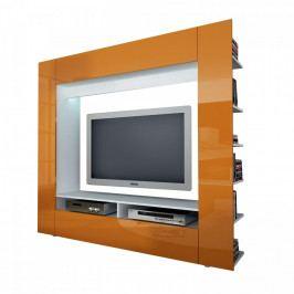 Idea Televizní stěna OLLI bílá/lesklá oranžová