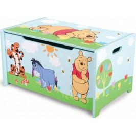 Forclaire Dětská dřevěná truhla na hračky Medvídek Pú