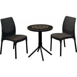 Rojaplast Set CHELSEA+MOSAIC table hnědý