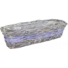 Proutěný obal na květiny - hranatý, šedo-fialový  cm