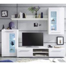 Tempo Kondela Obývací stěna HENRI - bílá lesk / čiré sklo