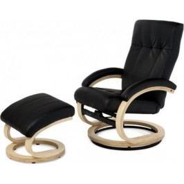 Relaxační křeslo TV-8763 BK BK - koženka černá/natural + kupón KONDELA10 na okamžitou slevu 10% (kupón uplatníte v košíku)
