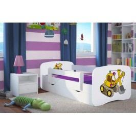 Forclaire Dětská postel se zábranou Ourbaby - bagr- bílý postel 180 x 80 cm s úložným prostorem + kupón KONDELA10 na okamžitou slevu 10% (kupón uplatníte v košíku)