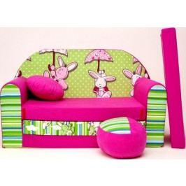 Forclaire Dětská pohovka Zeleno-růžová - Zajíčci