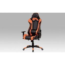 Kancelářská židle KA-G206 ORA - koženka černá + oranžová + kupón KONDELA10 na okamžitou slevu 10% (kupón uplatníte v košíku)