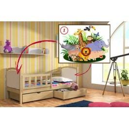 Vomaks Dětská postel DP 013 - 01 Safari KOMPLET 200 cm x 90 cm Barva bílá + kupón KONDELA10 na okamžitou slevu 10% (kupón uplatníte v košíku)