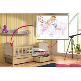 Vomaks Dětská postel DP 013 - 06 Princ a princezna 200 cm x 90 cm Barva bílá + kupón KONDELA10 na okamžitou slevu 10% (kupón uplatníte v košíku)