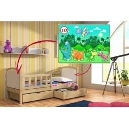 Vomaks Dětská postel DP 013 - 10 Dinosauři KOMPLET 200 cm x 90 cm Barva bílá + kupón KONDELA10 na okamžitou slevu 10% (kupón uplatníte v košíku)