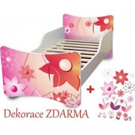 Forclaire Dětská postel KVĚTINKY Postel s úložným prostorem 200x90cm + kupón KONDELA10 na okamžitou slevu 10% (kupón uplatníte v košíku)