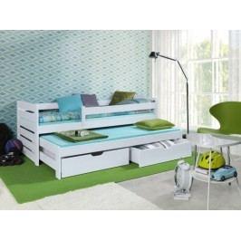 Forclaire Dětská postel s přistýlkou a zábranou Praktik - White 200x90cm - white + kupón KONDELA10 na okamžitou slevu 10% (kupón uplatníte v košíku)