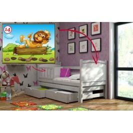 Vomaks Dětská postel s výsuvnou přistýlkou DPV 005 - 14 Lev 200 cm x 90 cm Barva bílá + kupón KONDELA10 na okamžitou slevu 10% (kupón uplatníte v košíku)