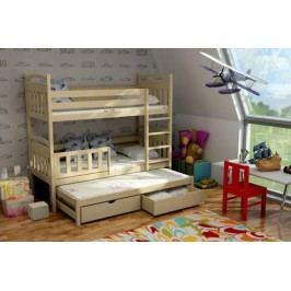 Vomaks Patrová postel s výsuvnou přistýlkou PPV 001 KOMPLET 200 cm x 90 cm Barva bílá + kupón KONDELA10 na okamžitou slevu 10% (kupón uplatníte v košíku)