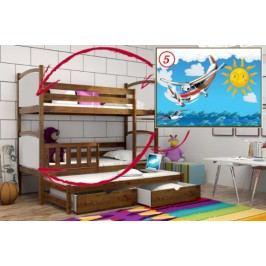 Vomaks Patrová postel s výsuvnou přistýlkou PPV 005 - 05 Letadlo KOMPLET 200 cm x 90 cm Barva bílá + kupón KONDELA10 na okamžitou slevu 10% (kupón uplatníte v košíku)