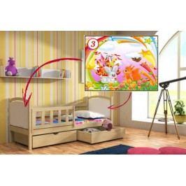 Vomaks Dětská postel DP 013 - 03 Veverka a králík KOMPLET 200 cm x 90 cm Barva bílá + kupón KONDELA10 na okamžitou slevu 10% (kupón uplatníte v košíku)