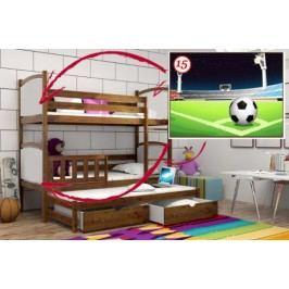 Vomaks Patrová postel s výsuvnou přistýlkou PPV 005 - 15 Fotbalové hřiště KOMPLET 200 cm x 90 cm Barva bílá + kupón KONDELA10 na okamžitou slevu 10% (kupón uplatníte v košíku)