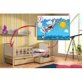 Vomaks Dětská postel DP 013 - 05 Letadlo 200 cm x 90 cm Barva bílá + kupón KONDELA10 na okamžitou slevu 10% (kupón uplatníte v košíku)